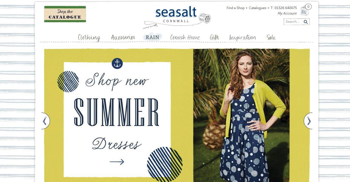Screenshot of Seasalt homepage showing yellow, blue and white colour scheme