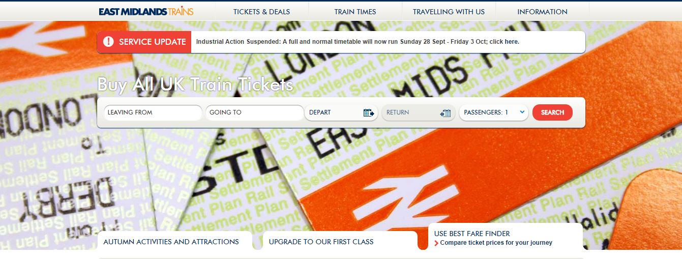 Image of East Midlands Trains home page
