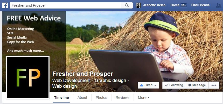 Fresher and Prosper Facebook home page
